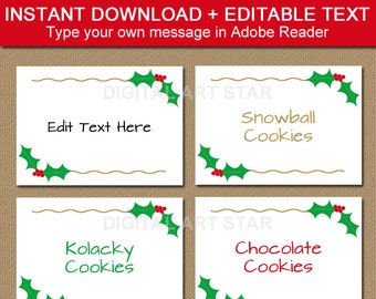 christmas buffet cards christmas label template cute etsy