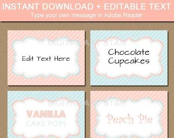 Printable Peach Aqua Labels, Buffet Cards, Tent Cards, Candy Buffet Labels, Bridal Labels, Wedding Labels - DIY Digital Download Place Cards