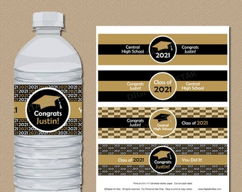 Black and Gold Graduation Decorations 2021, Personalized Graduation Water Bottle Labels 2021, High School Graduation 2021 Party Ideas G1