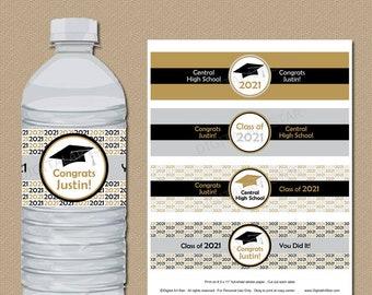Personalized Graduation Water Bottle Labels Silver Gold Black 2021 Graduation Decorations High School Graduation Party Decorations G1