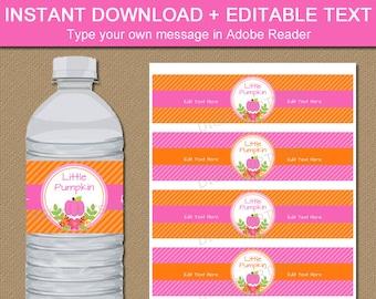 Little Pumpkin Baby Shower Decorations - Little Pumpkin Water Bottle Labels - Fall Baby Shower Water Labels - Pumpkin Baby Shower Decor  LP1