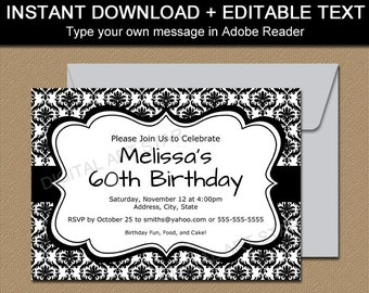 Girl fox baby shower invitation template editable woodland etsy black and white invitation template black and white birthday invitation printable wedding invitation instant download baby shower invites stopboris Gallery