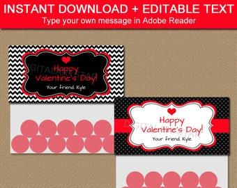 Valentine Bag Toppers - Printable Valentines Day Bag Toppers - EDITABLE Valentine Bag Labels Instant Download - Valentine Party Favors V1