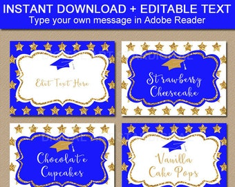 Royal Blue and Gold Graduation Candy Buffet Labels, Graduation Place Cards, Graduation Food Labels, Stars Name Tags, Editable Food Cards G10