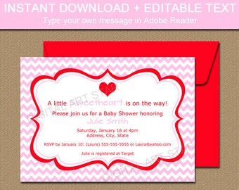 pink valentines day invitation template editable pink etsy