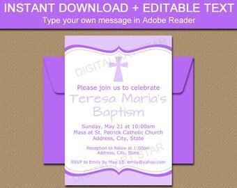 Christening Invitation Instant Download, Baptism Invites, Lavender Christening Sign, PRINTABLE Baptism Sign, Christening Party Decor I5