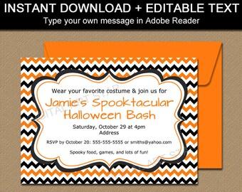 Halloween Party Invites, Halloween Invitation Printable, Halloween Birthday Invitation Instant Download, Orange and Black Chevron Invitation