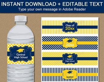 High School Graduation Water Bottle Labels Printable, High School Graduation Party Ideas, Navy and Yellow Water Bottle Wraps Template G4