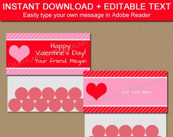 Printable Valentine Bag Toppers - Editable Valentines Day Party Favors - Valentine Bag Tags - Pink and Red Bag Labels - Valentine Favors