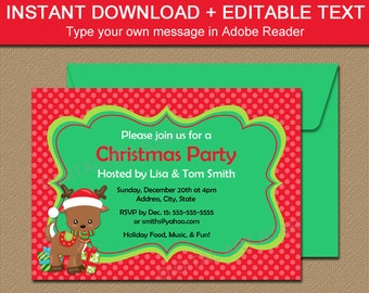 Downloadable Christmas Party Invitations with Reindeer - EDITABLE Holiday Invitation Template - Holiday Party Invites - INSTANT DOWNLOAD