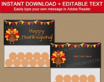 Thanksgiving Favors - Thanksgiving Favor Bags - PRINTABLE Thanksgiving Bag Toppers - Thanksgiving Baby Shower Favors - Thanksgiving Birthday