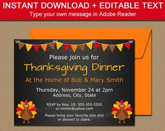 Thanksgiving Dinner Invitation Template - Thanksgiving Chalkboard Invites - Printable Turkey Invitations - Thanksgiving Baby Announcement