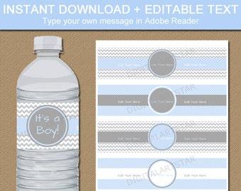 Baby Shower Chevron Water Bottle Labels, DIY Printable Boy Shower Water Bottle Wraps, EDITABLE in Adobe Reader, Baby Boy Shower Favors BB1