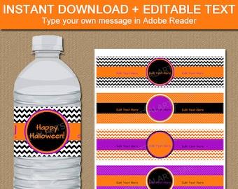 Halloween Water Bottle Labels, Printable Halloween Water Bottle Wrapper, Downloadable Halloween Labels Orange Purple Black Template EDITABLE