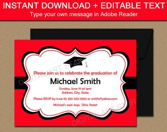 printable graduation invitation template black red high school graduation invitation 2018 graduation invites printable graduation sign g1