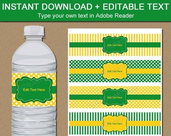 Editable Water Bottle Labels Kelly Green and Yellow, Birthday Party Decorations, Printable Water Bottle Stickers, Birthday Decorations B3