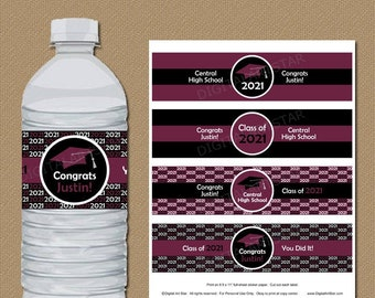 Maroon Graduation Water Bottle Labels Stickers High School Graduation Party Decorations Water Bottle Sticker Personalized Printable PDF G1