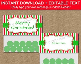 CHRISTMAS Bag Toppers, Holiday Treat Bag Toppers, Printable Christmas Party Favors, Holiday Party Favors, EDITABLE Christmas Download CSV