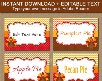 Printable Thanksgiving Food Tags - Turkey Labels, EDITABLE Thanksgiving Buffet Cards, Thanksgiving Buffet Labels Thanksgiving Place Cards T1