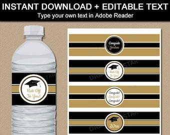 Graduation Water Bottle Labels Printable - Black and Gold Graduation Party Decorations - 2021 Graduation Water Bottle Stickers Editable G2