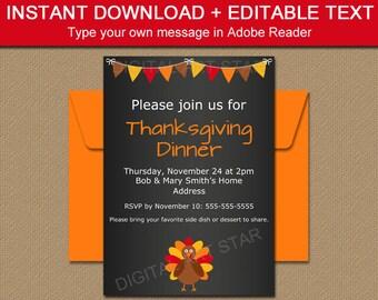 Thanksgiving Chalkboard Invitation Template - Printable Thanksgiving Invitation Download - Thanksgiving Party Printables - Friendsgiving