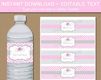 Pink Elephant Baby Shower Decorations - Baby Girl Elephant Water Bottle Labels Template - Pink and Gray Elephant Water Bottle Stickers BB7