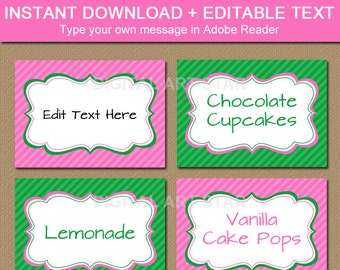 Printable Pink Green EDITABLE Place Cards, Tent Cards, Labels, Buffet Cards, Food Labels - Digital Download Candy Buffet Labels Table Tents