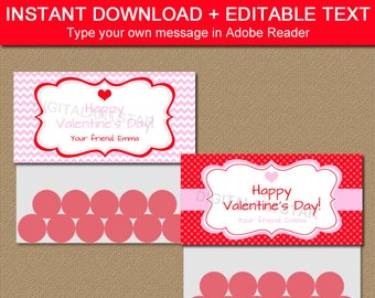 Valentine's Day Bag Toppers, PRINTABLE Valentine Bag Toppers, Bag Labels, Valentine Party Favors, Treat Bag Toppers, Goodie Bag Tags V1