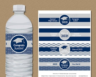 Navy Graduation Party Decorations, Navy Blue and Silver Graduation Water Bottle Labels Personalized, High School Graduation Party Ideas G1