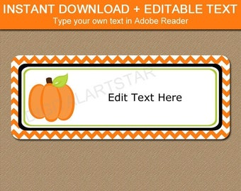 Pumpkin Return Address Label Template - Pumpkin Address Labels Stickers - Printable Halloween Address Labels - Editable Address Labels