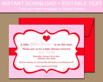 Pink Valentines Day Invitation Template, EDITABLE Pink Valentine Party Invitation, Printable Pink Baby Shower Valentine's Day Invite V1