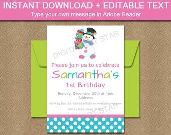 Snowman Birthday Invitation - Snowman Invitation - PRINTABLE Winter Birthday Invitations - EDITABLE Christmas Birthday Invitation Downoad C1