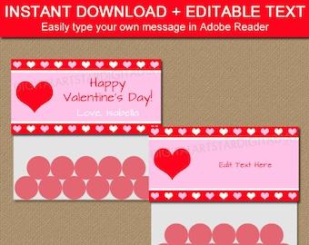 Valentine Bag Toppers - Valentine Bag Labels - Valentine Goodie Bag Label Template - Kids Valentine Party Favors - DIY Valentine Ideas