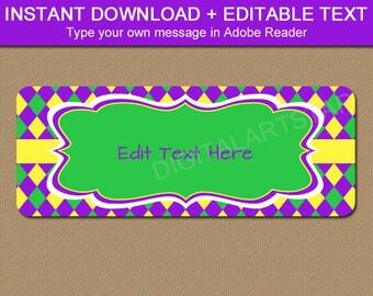 Printable Return Address Labels, Mardi Gras Address Labels, Mardi Gras Baby Shower Labels, Mardi Gras Birthday Address Label Template M1