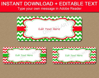 Printable Christmas Address Labels EDITABLE Holiday Xmas Return Label Template Red Green Gift Tags C4
