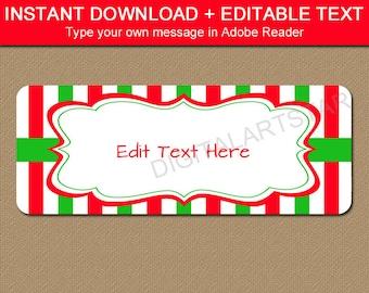 Printable Christmas Address Labels Instant Download - Holiday Return Address Label PDF - DIY Address Label Christmas - Label Template CSV