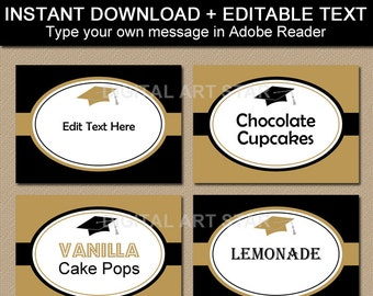 Graduation Buffet Cards, Food Labels, Tent Cards, Printable Graduation Candy Buffet Labels Instant Download, College Graduation Ideas G1