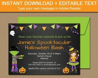 kids halloween chalkboard invitation kids costume party etsy