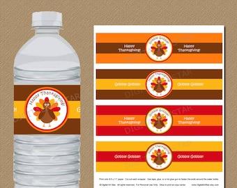 Thanksgiving Water Bottle Labels - DIY Printable Thanksgiving Water Bottle Wrappers - Turkey Drink Labels - INSTANT DOWNLOAD Labels T1
