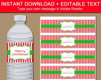 Christmas Water Bottle Labels Christmas Party Decor Kids Etsy