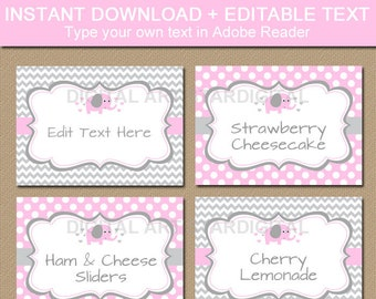Pink Elephant Baby Shower Food Labels - Elephant Label Baby Shower - Elephant Place Cards - Food Tents Template - Printable Food Cards BB7