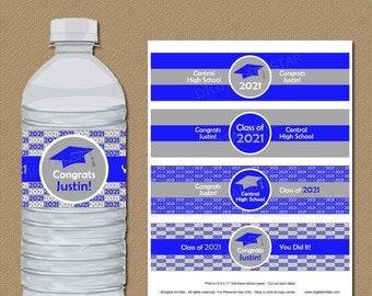 Graduation Party Decorations 2021, Graduation Water Bottle Labels 2021, Royal Blue and Gray Graduation Decorations, Personalized Labels G1