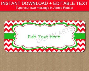 Christmas Address Label Template Editable Printable, Christmas Gift Labels, Holiday Return Address Labels, Cute Christmas Address Labels C4