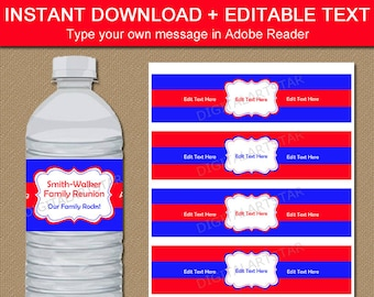 Family Reunion Water Bottle Labels Printable - Red and Royal Blue Water Labels - Birthday Water Wraps - DIY Family Reunion Party Decorations