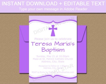 PRINTABLE Baptism Invitations, Baby Girl Baptism Invitation, Lavender Christening Invitation, Digital Invitations, Girl Christening Decor I5