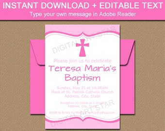 Pink Baptism Invitation Template, Girl Baptism Decorations, PRINTABLE Pink Baptism Sign, EDITABLE Christening Sign, Christening Decor I1