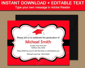 printable graduation party invitation instant download red black high school graduation invite graduation celebration invite editable pdf g1