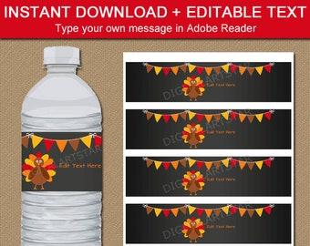EDITABLE Thanksgiving Water Bottle Labels, Thanksgiving Decorations, Thanksgiving Favor Ideas, Chalkboard Thanksgiving Water Bottle Stickers