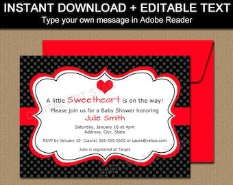 EDITABLE Valentines Day Invitation Template - Printable Valentines Day Baby Shower Invitation - Digital Bridal Shower Invitations V1