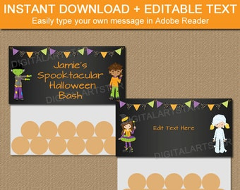 Halloween Bag Toppers - Halloween Treat Bag Toppers - Halloween Goodie Bag Toppers - Kids Halloween Party Favors - Chalkboard Bag Tags HCBK